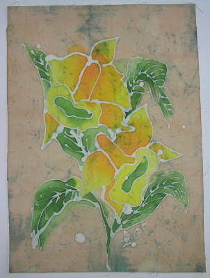 zorica, đuranić, batik, canvas, paintings, art, flowers, yellow