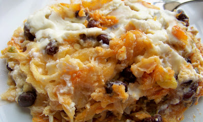 On My Menu: Layered Chicken and Black Bean Enchilada Casserole
