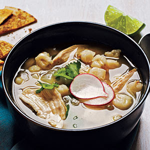 On My Menu: Mexican Chicken-Hominy Soup with Cumin-Lime Tortilla Chips