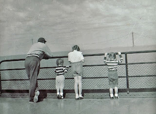 Ferry Crossing 1956 showing Mackinac Bridge Cables