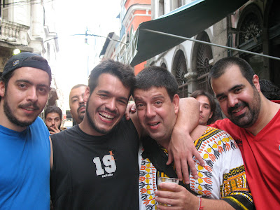 Arthur Favela, Bruno Tirone, Edu Goldenberg e Daniel Frangiotti na rua do Ouvidor, 08 de dezembro de 2007