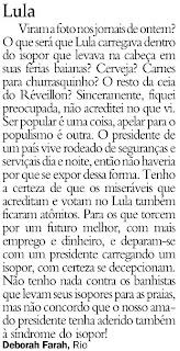 carta publicada no JB de 06 de janeiro de 2010