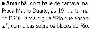 nota publicada no jornal O GLOBO de 15 de janeiro de 2010