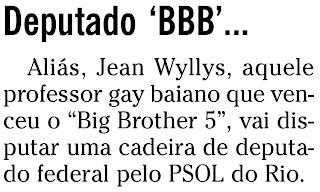 nota publicada no jornal O GLOBO na coluna ANCELMO GOIS de 09 de março de 2010