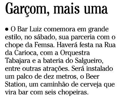 nota publicada no jornal O GLOBO de 11 de novembro de 2008