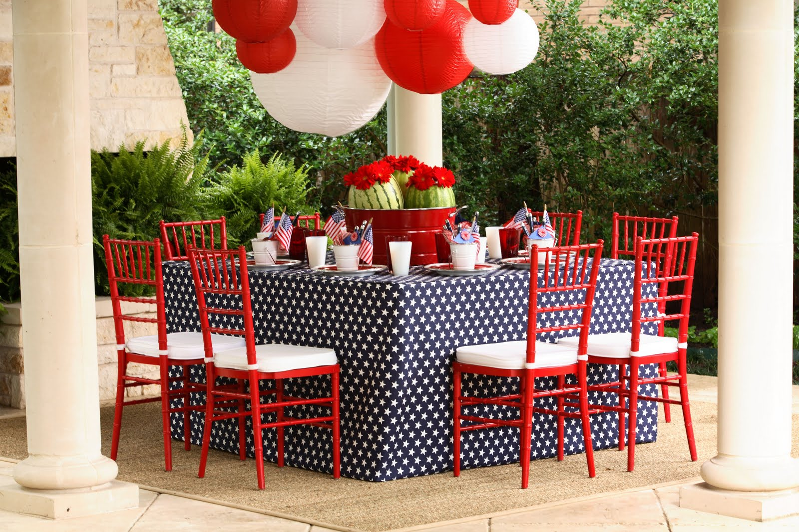 Kimberly schlegel whitman fourth of july tablescape for 4th of july party decoration
