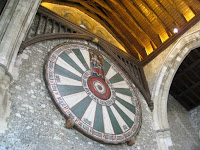 Round table in the Great Hall of Winchester Castle in England