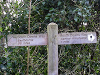 Signpost for the South Downs Way in Winchester England