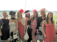 Models posing in the Face of Ascot modeling competition at Royal Ascot