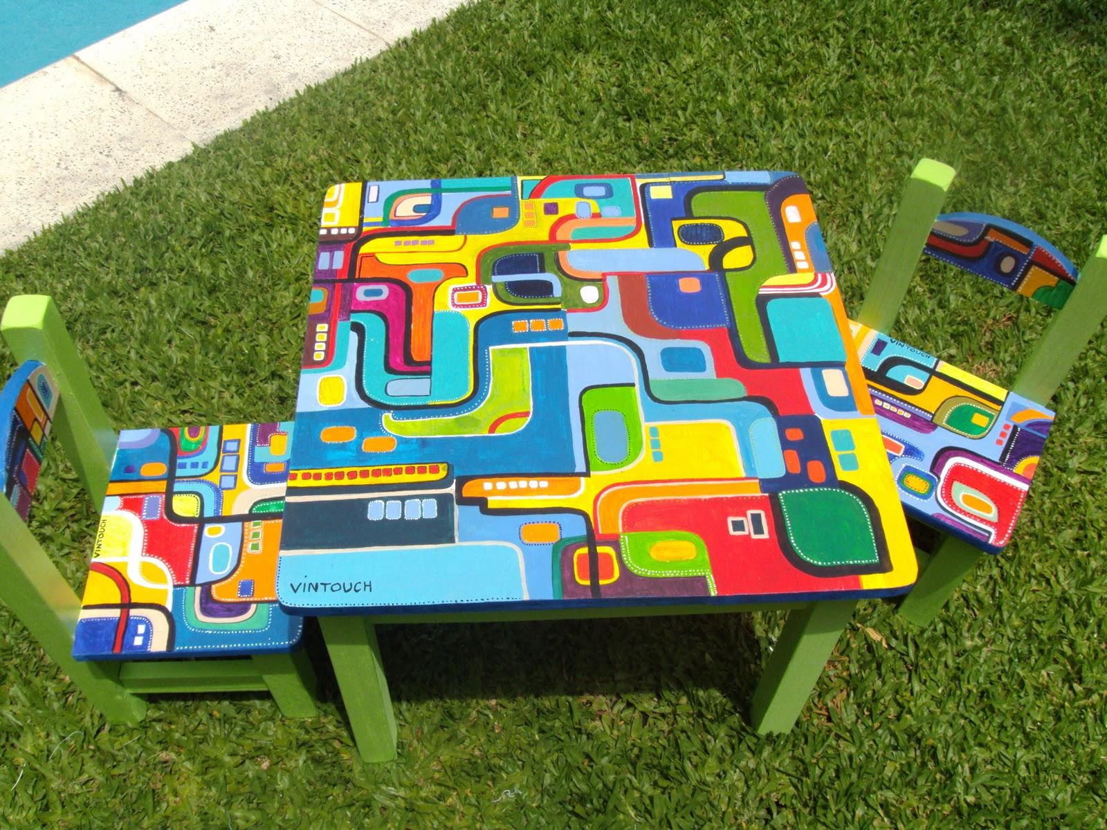 Vintouch muebles reciclados pintados a mano mesa y for Sillas para chicos