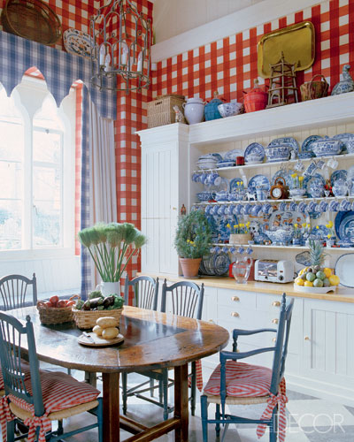 Blue artichoke interiors red white and blueautiful for Elle decor kitchen ideas