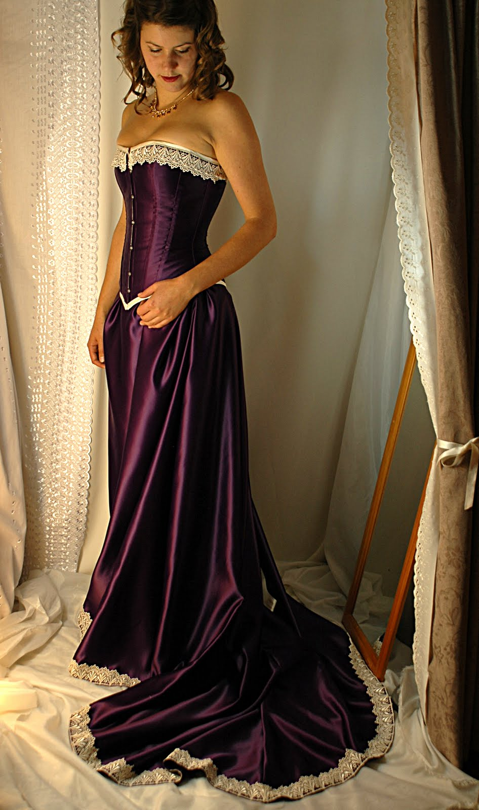 Cadbury purple and antiqued ivory corset gown bound by for How to lace a corset wedding dress