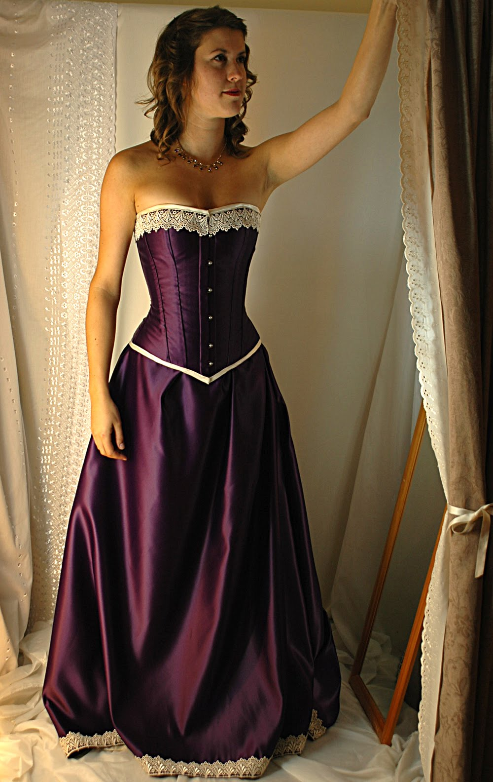 Cadbury purple and antiqued ivory steel boned corset gown for Purple and ivory wedding dress