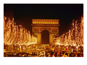 [105441~A-Night-View-of-the-Arc-De-Triomphe-and-the-Champs-Elysees-Lit-up-for-Christmas-Posters.jpg]