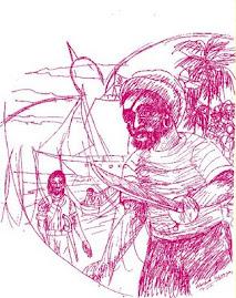 Dibujo de Wilfrido Velazquez, para el libro Espejismo de Luna Llena.