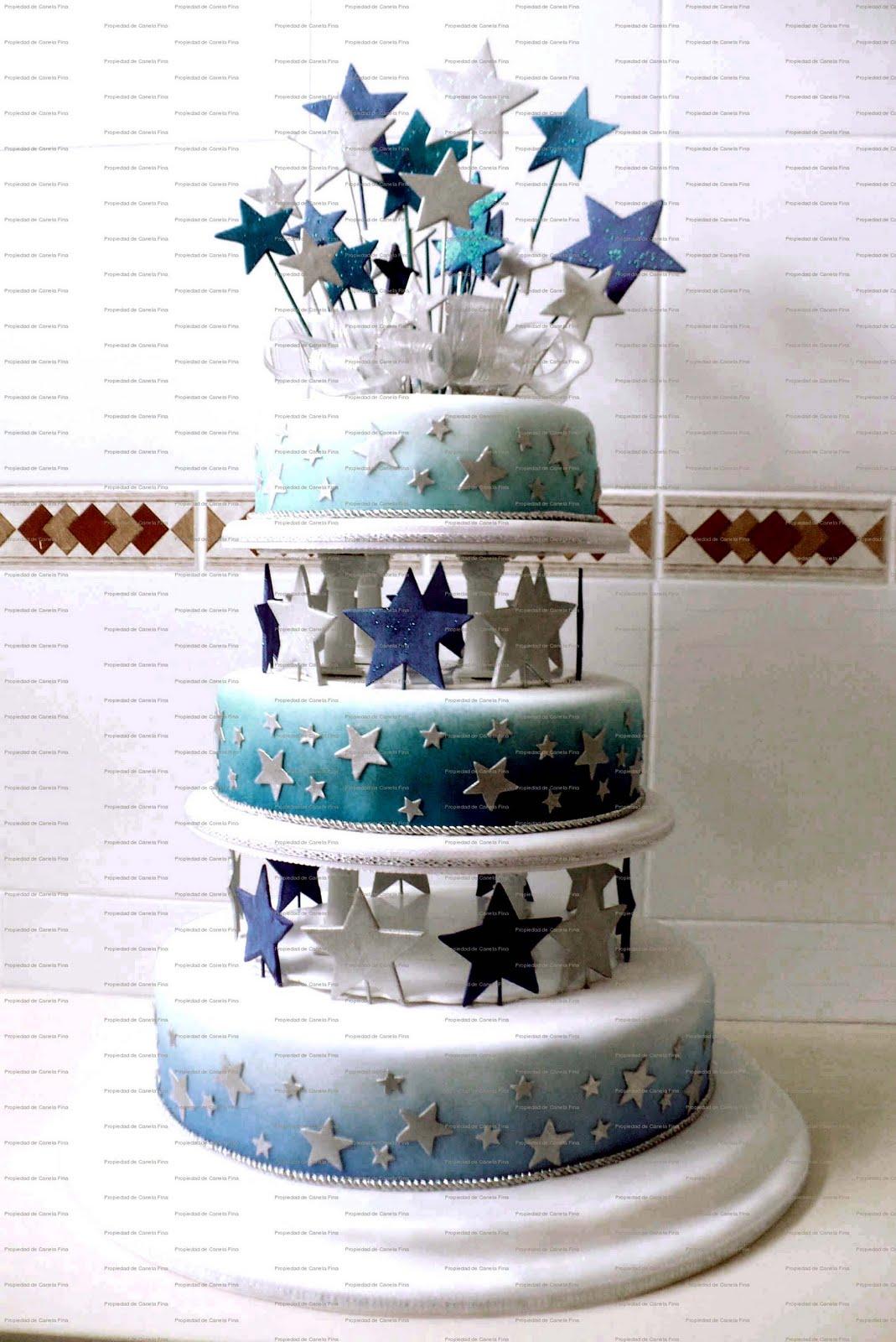 Torta de 15 años o Matrimonio Estrellas Azules