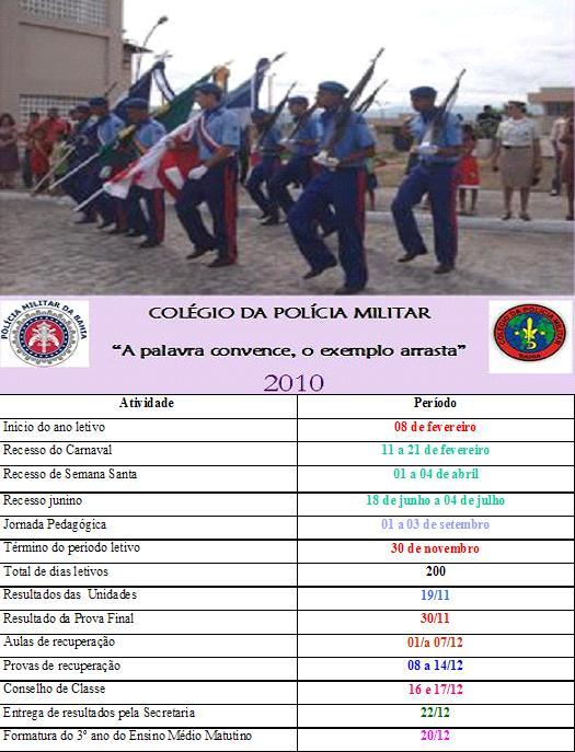 Calendário anual de atividades escolares