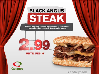 Quiznos Canada has a special price on their Black Angus Steak sandwich on
