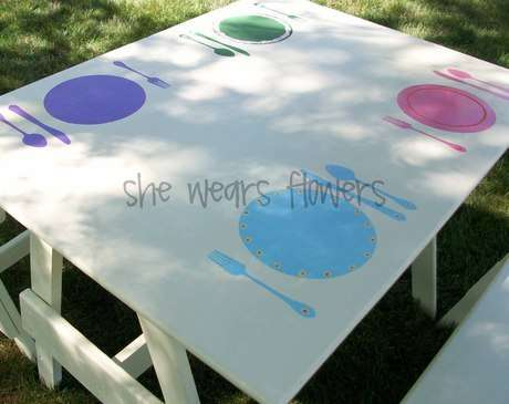 Woodworking: picnic table stain/paint, flood products, picnic table