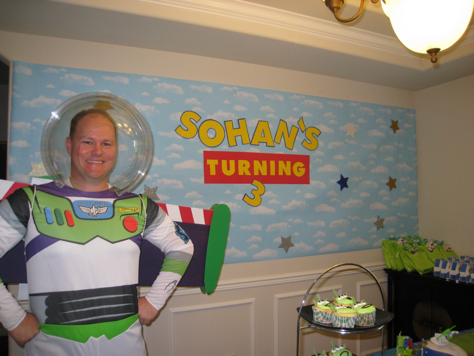 The party wall toy story party i made a custom banner reading sohans turning 3 based on the toy story movie logo amipublicfo Image collections