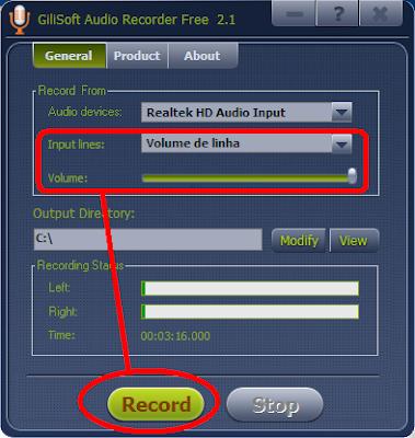 gravar musica qualquer site internet