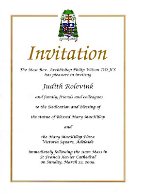 Judsculpt invitation to unveiling of mary mackillop sculpture invitation to unveiling of mary mackillop sculpture stopboris Images