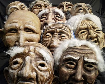 giant puppet heads made over clay armatures