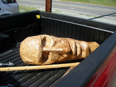 easter island puppet head in truck