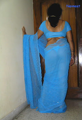 Indian wife showing ass panty  in blue saree