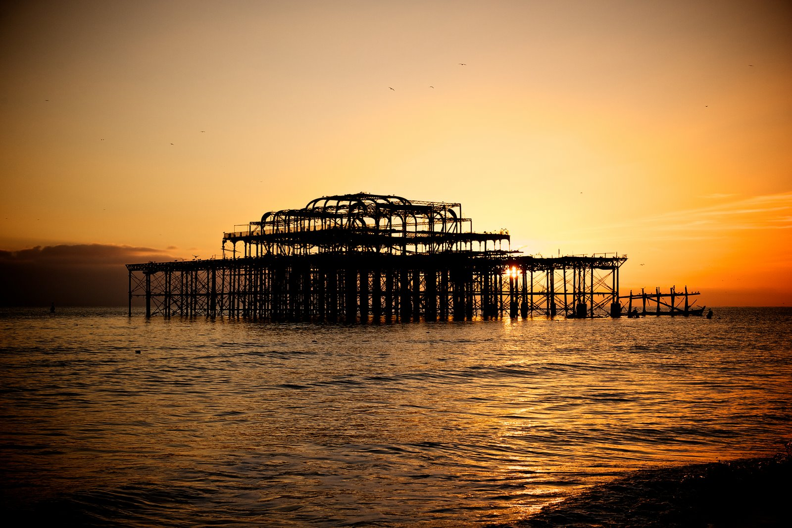 west pier brighton sunset