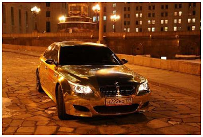 pure gold bmw car in moscow