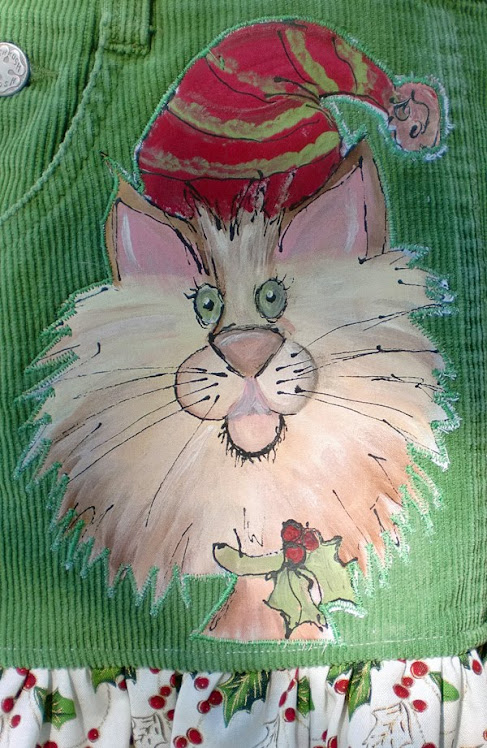 Hand painted One of a Kind Christmas Kitty appliqued corduroy jumper