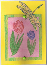 Tulip and Dragonfly card