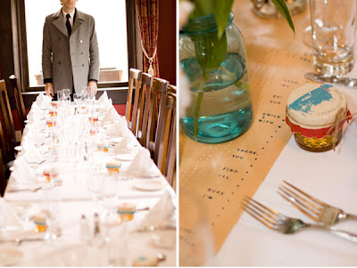 that acted as table runners Mismatched blue mason jars with lillies and
