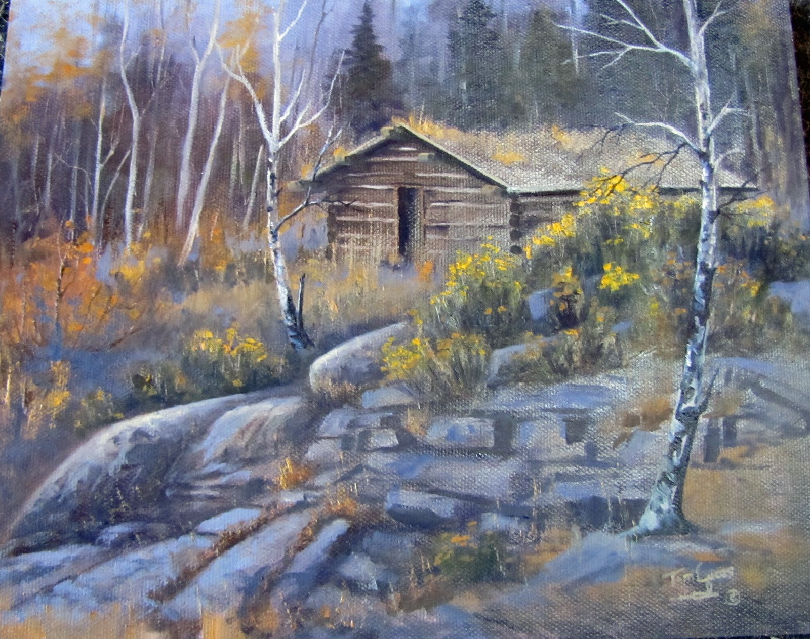 Log cabin in the woods painting - Log Cabin In The Woods Painting 57