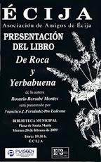 """Cartel de presentación del libro, """"De roca y yerbabuena"""", en Écija."""