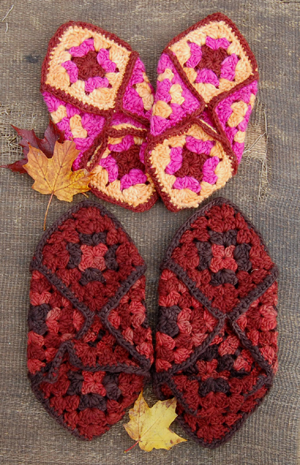 Free Crochet Pattern: Granny Square Slippers