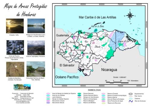 Fauna en Honduras Areas protegidas por zonas