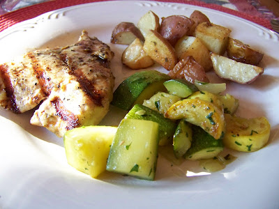 grilled chicken garlic marinated chicken cutlets with grilled potatoes ...