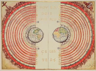 Bartolomeu Velho's Map of the Heavenly Spheres surrounding a contemporary map of the Earth