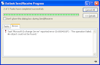 Task 'Microsoft Exchange Server' reported error (0x8004010F): 'The operation failed. An object could not be found.'
