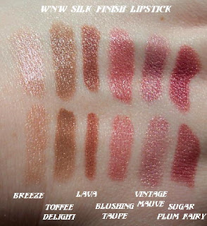 wnw silk finish lipstick swatches