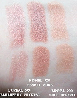 loreal and rimmel lipstick swatches