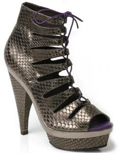 faith laccey pewter snake sandal boots