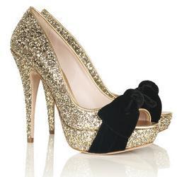 gold glitter miu miu peep toes
