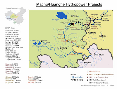 Dams on Machu/Yellow River/Huanghe (Northeast Tibetan Plateau)