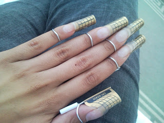 Sculptured Acrylic Nails using Creative Nail Design products, in the