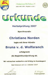 Urkunde zur Begleithundprüfung von Bruna von der Wolfsranch