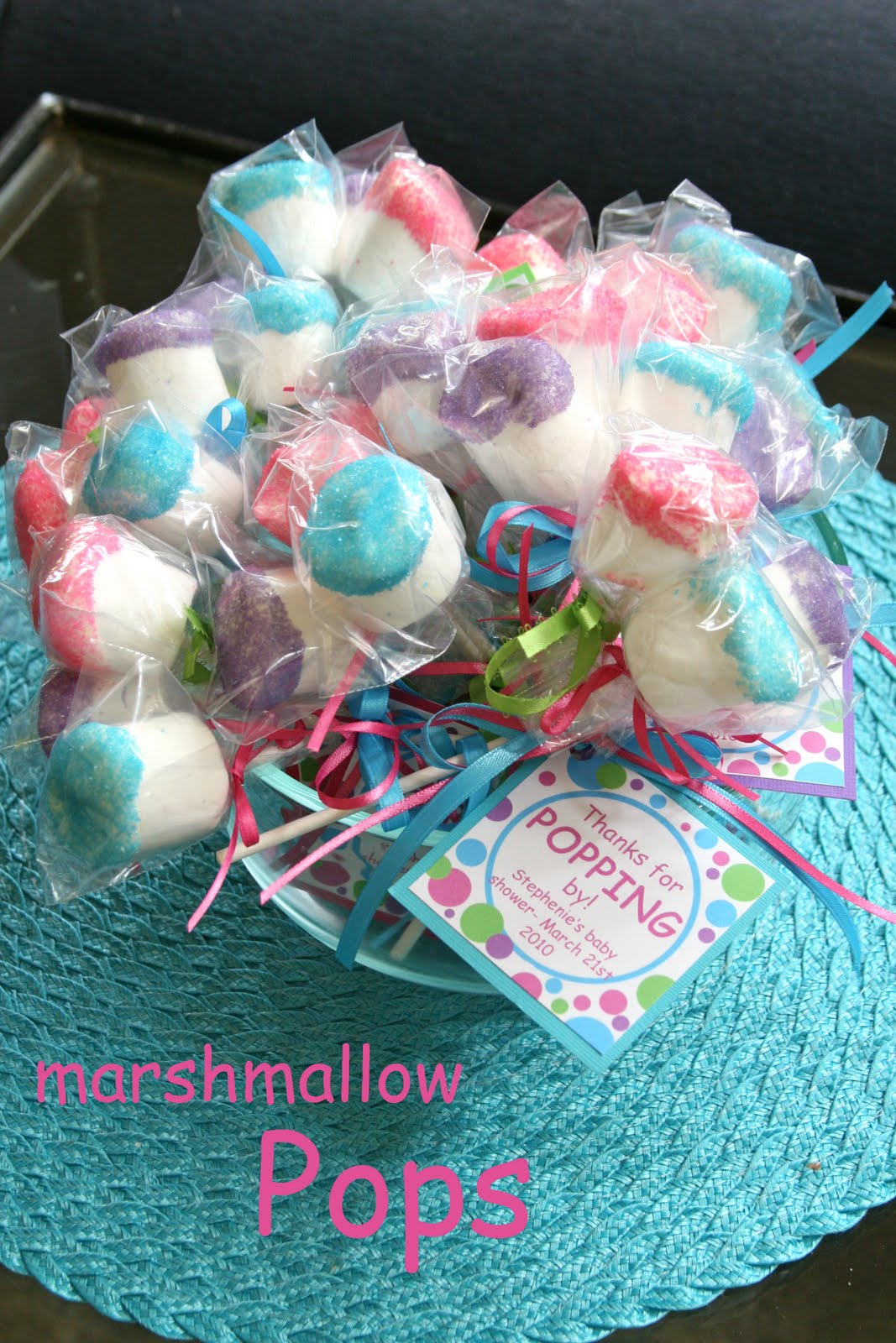 Marshmallow POPS as favors (marshmallows on a lollipop stick, dipped ...