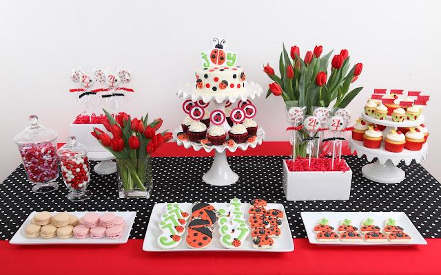 Ladybug dessert buffet table